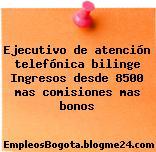 Ejecutivo de atención telefónica bilinge Ingresos desde 8500 mas comisiones mas bonos