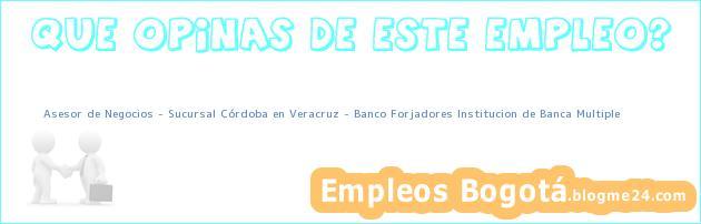Asesor de Negocios – Sucursal Córdoba en Veracruz – Banco Forjadores Institucion de Banca Multiple