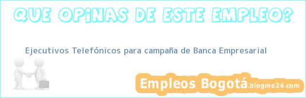 Ejecutivos Telefónicos para campaña de Banca Empresarial