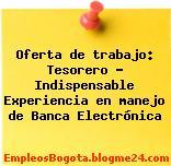 Oferta de trabajo: Tesorero – Indispensable Experiencia en manejo de Banca Electrónica