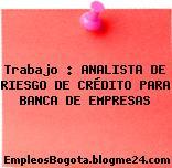 Trabajo : ANALISTA DE RIESGO DE CRÉDITO PARA BANCA DE EMPRESAS