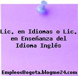 Lic. en Idiomas o Lic. en Enseñanza del Idioma Inglés