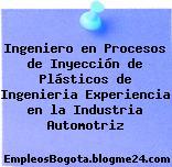 Ingeniero en Procesos de Inyección de Plásticos de Ingenieria Experiencia en la Industria Automotriz