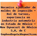 Mecanico ajustador de moldes de inyección – Rol de turnos, experiencia en industria automotriz en Estado de México – New Dynacast de México S.A. de C