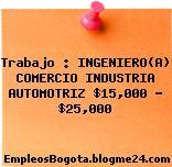 Trabajo : INGENIERO(A) COMERCIO INDUSTRIA AUTOMOTRIZ $15,000 – $25,000