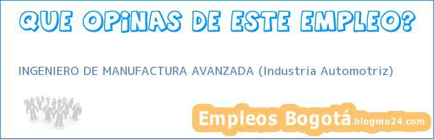 INGENIERO DE MANUFACTURA AVANZADA (Industria Automotriz)