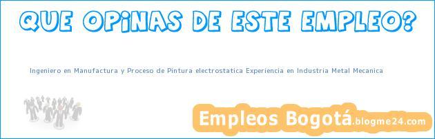 Ingeniero en Manufactura y Proceso de Pintura electrostatica Experiencia en Industria Metal Mecanica