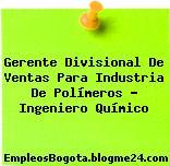Gerente Divisional De Ventas Para Industria De Polímeros – Ingeniero Químico
