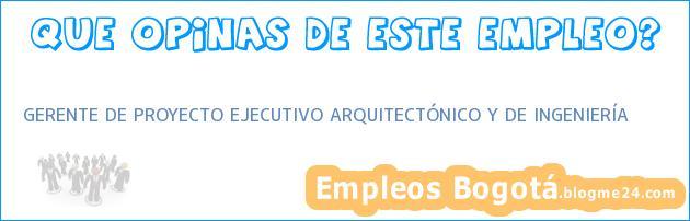 GERENTE DE PROYECTO EJECUTIVO ARQUITECTÓNICO Y DE INGENIERÍA