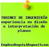 TRAINEE DE INGENIERÍA experiencia en diseño e interpretación de planos
