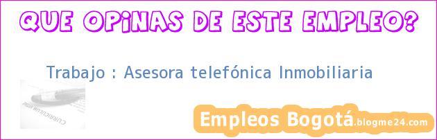 Trabajo : Asesora telefónica Inmobiliaria