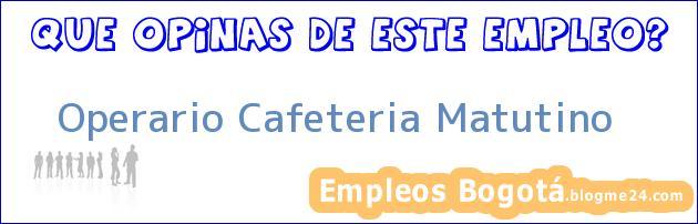 Operario Cafeteria Matutino