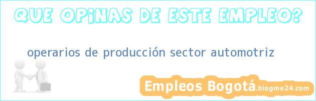 operarios de producción – sector automotriz