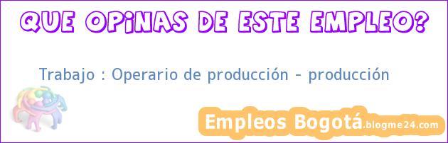 Trabajo : Operario de producción – producción