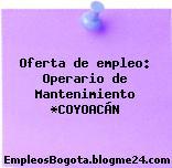 Oferta de empleo: Operario de Mantenimiento *COYOACÁN