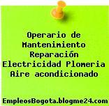 Operario de Mantenimiento Reparación Electricidad Plomeria Aire acondicionado