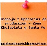 Trabajo : Operarios de produccion – Zona Chulavista y Santa fe