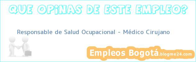 Responsable de Salud Ocupacional – Médico Cirujano