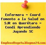Enfermera – Coord Fomento a la Salud en SJR en Querétaro – Cendi Aprendiendo Jugando SC