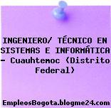 INGENIERO/ TÉCNICO EN SISTEMAS E INFORMÁTICA – Cuauhtemoc (Distrito Federal)