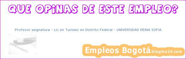 Profesor asignatura – Lic en Turismo en Distrito Federal – UNIVERSIDAD REINA SOFIA