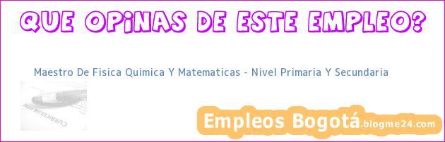 Maestro De Fisica Quimica Y Matematicas – Nivel Primaria Y Secundaria