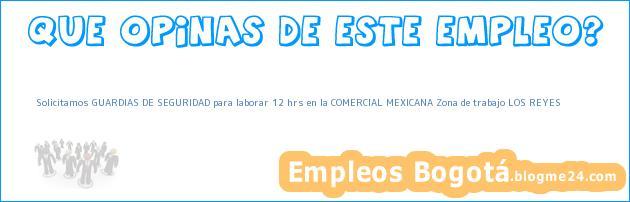 Solicitamos GUARDIAS DE SEGURIDAD para laborar 12 hrs en la COMERCIAL MEXICANA Zona de trabajo LOS REYES