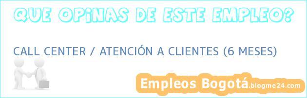 CALL CENTER / ATENCIÓN A CLIENTES (6 MESES)
