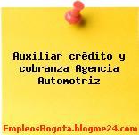 Auxiliar crédito y cobranza Agencia Automotriz