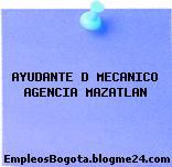 AYUDANTE D MECANICO AGENCIA MAZATLAN