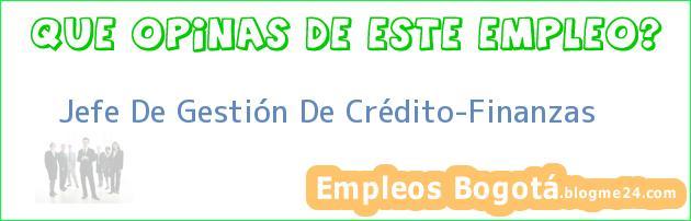 Jefe De Gestión De Crédito-Finanzas
