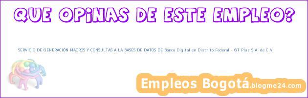 SERVICIO DE GENERACIÓN MACROS Y CONSULTAS A LA BASES DE DATOS DE Banca Digital en Distrito Federal – GT Plus S.A. de C.V