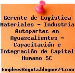 Gerente de Logistica Materiales – Industria Autopartes en Aguascalientes – Capacitación e Integración de Capital Humano SC