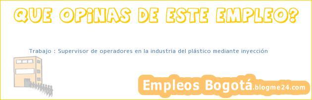 Trabajo : Supervisor de operadores en la industria del plástico mediante inyección