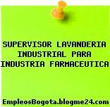 SUPERVISOR LAVANDERIA INDUSTRIAL PARA INDUSTRIA FARMACEUTICA