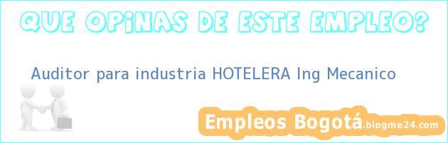 Auditor para industria HOTELERA Ing Mecanico