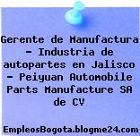 Gerente de Manufactura – Industria de autopartes en Jalisco – Peiyuan Automobile Parts Manufacture SA de CV