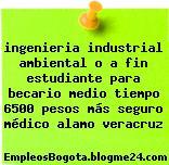 ingenieria industrial ambiental o a fin estudiante para becario medio tiempo 6500 pesos más seguro médico alamo veracruz