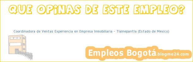 Coordinadora de Ventas Experiencia en Empresa Inmobiliaria – Tlalnepantla (Estado de Mexico)