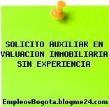 SOLICITO AUXILIAR EN VALUACION INMOBILIARIA SIN EXPERIENCIA