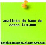 analista de base de datos $14,000