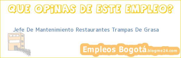 Jefe De Mantenimiento Restaurantes Trampas De Grasa