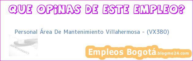 Personal Área De Mantenimiento Villahermosa – (VX380)