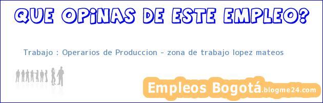 Trabajo : Operarios de Produccion – zona de trabajo lopez mateos