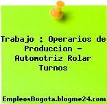 Trabajo : Operarios de Produccion – Automotriz Rolar Turnos