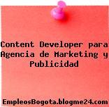 Content Developer para Agencia de Marketing y Publicidad