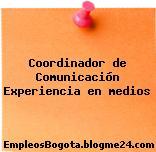 Coordinador de Comunicación Experiencia en medios