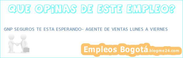 GNP SEGUROS TE ESTA ESPERANDO– AGENTE DE VENTAS LUNES A VIERNES