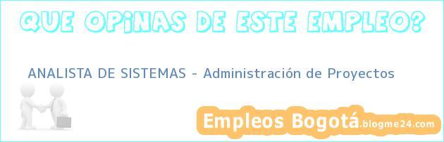 ANALISTA DE SISTEMAS – Administración de Proyectos
