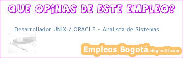 Desarrollador UNIX / ORACLE – Analista de Sistemas